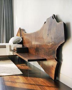 JohnHoushmand No. 0083 Black Walnut Headboard with Side Tables and Platform