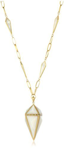 Lauren Harper Collection Over the Moon 18k Gold, Mother-Of-Pearl and Diamond Pyramid Pendant Necklace