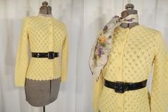1950s Cardigan // Pin Up Sweater // 50s sweater // British Vogue // Yellow Cardigan // 1960s Sweater by RockabillyRavenVtg on Etsy