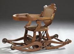 American Carved Walnut Collapsible High Chair, c. 1890