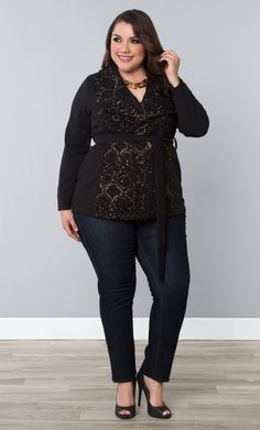 Our plus size Boucle Wrap Coat is a great layer for a night out this fall.  The right amount of warmth and sparkle.  Browse our entire made in the USA collection online at www.kiyonna.com.  #KiyonnaPlusYou