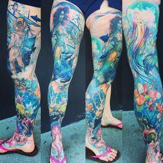 Tattoos News Pics Videos And Info Ocean Sleeve Tattoos, Octopus Tattoo Sleeve, Nautical Tattoo Sleeve, Octopus Tattoo Design, Leg Sleeve Tattoo, Girls With Sleeve Tattoos, Nautical Tattoos, Arm Tattoo, Tattoo Designs