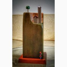 Cesare Restaino - Woodensculpture of fir and polymer clay  Scultura in legno d'abete e pasta polimerica
