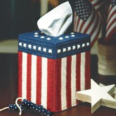 All American Tissue Box Cover Plastic Canvas Pattern ePattern - Free American flag craft patterns and patriotic craft ideas