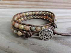 Leather Wrap Bracelet  Autumn Jasper  Double Wrap by GSJewelry
