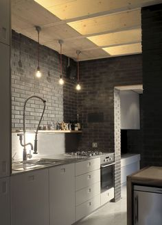Masculine Kitchen Design At The Orangery house extension by Liddicoat & house design design interior design Kitchen Interior, New Kitchen, Kitchen Dining, Kitchen Decor, Loft Kitchen, Kitchen Brick, Minimal Kitchen, Kitchen Grey, Kitchen Walls