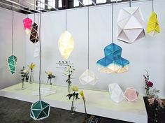 Innovative Tyvek®, paper-like lamps that hang from the ceiling giving the appearance that they are crystals.