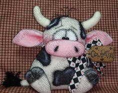 Cowbella Pattern - Primitive Doll Pattern - Animal - Cow - Bull - Farm - Whimsical - Fiber Art - English Only Primitive Doll Patterns, Love You More, Pattern Paper, Cat Pattern, Cover Pages, Felt Crafts, Fiber Art, Wool Felt, Happy Shopping