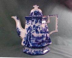 Antique Flow Blue Ironstone China Tea Pot Mellor Venables & Co.