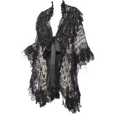 Preowned Victorian Handmade Cluny Bobbin Lace Dolman Cape (6,750 SAR) ❤ liked on Polyvore featuring outerwear, victorian, black, shawls, cape shawl, lacy shawl, victorian cape, victorian shawl and lace shawl