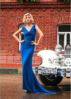 Slim Fitted Spandex Cowl Neckline Sheath Evening Dresses With Beads &…