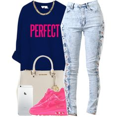 A fashion look from October 2014 featuring blue shirt, high waisted jeans and leather handbags. Browse and shop related looks.