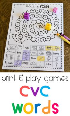 Tons of print and play phonics games for the primary classroom! These partner games are all black and white and allow students to practice short vowels, long vowels, digraphs, and blends!