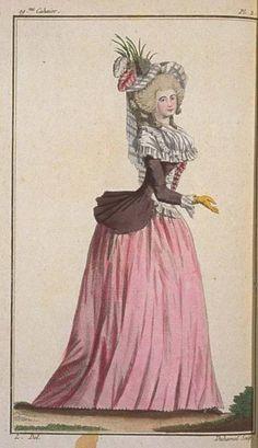 1786 Pierrot Jacket, Scalloped-Edge Coat, Kerchief, Cap / Cabinet des Modes, August 1786.