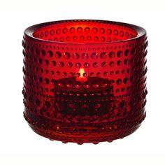 Kastehelmi ljuslykta, röd från Iittala