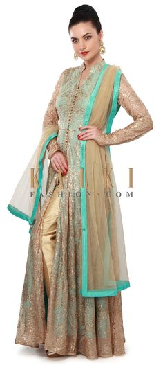 Buy Online from the link below. We ship worldwide (Free Shipping over US$100). Product SKU - 317324. Product Price - $299.00. Product link - http://www.kalkifashion.com/gold-and-turq-anarkali-suit-enhanced-in-sequin-embroidery-only-on-kalki.html