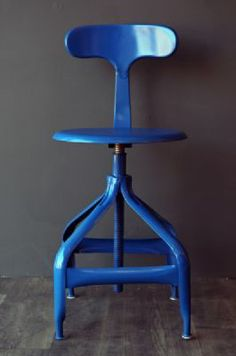 Industrial Metal Architect s Stool - Blue