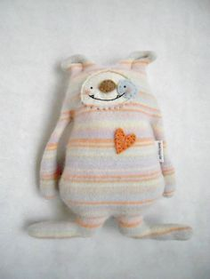 Cashmere Puppy Dog Stuffed Animal  Striped Upcycled Repurposed Sweater.
