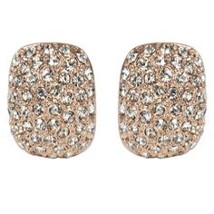 CLASSIC Radiant Rose Gold Crystal Stud Clip On Earrings