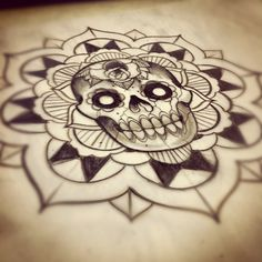 Sketch of skull/mandala