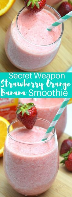 #ad Start your morning off right with this secret weapon strawberry orange banana smoothie and stay ahead of this seasons hustle and bustle! #FallImmuneSupport