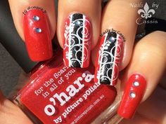 Red x Black Stripes Stamping Nail Art - YouTube