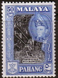 Pahang 1957 SG 83a Aborigines and Blowpipe Fine Mint SG 83a Scott 78a Other British Commonwealth Empire and Colonial stamps Here
