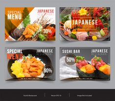Food Banner Template Set For Advertising Japanese Menu, Japanese Sushi, Facebook Cover Template, Food Banner, Menu Restaurant, Banner Template, Vector Free, Templates, Shop