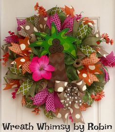 Deco Mesh Tropical Palm Tree Wreath in Pink by WreathWhimsybyRobin