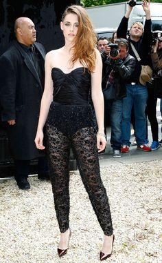 Kristen Stewart hits Zuhair Murad's show in Paris in a revealing lace jumpsuit by the designer. What do you think of the look: Hot or not? http://www.eonline.com/photos/6/the-big-picture-today-s-hot-pics/297321