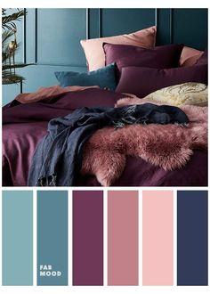 Bedroom Colour Palette, Colour Pallete, Calming Bedroom Colors, Blue Palette, Winter Colour Palette, Bedroom Colour Schemes Neutral, Bright Bedroom Colors, Rose Gold Color Palette, Guest Bedroom Colors