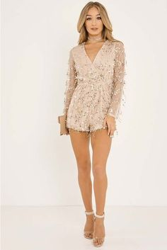 9bb2a850399d MERCIE NUDE SEQUIN TASSLE PLUNGE WRAP PLAYSUIT. SHANEIKA WHITE STRIPED  PLUNGE BELTED JUMPSUIT ...