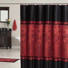 Bathroom shower curtain asian