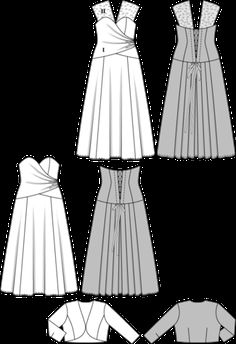 Corset dress - wedding dress - Bolero top Passe - lacing in the back Burda 6710 download