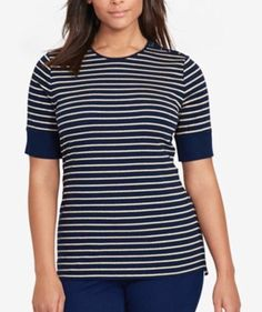 NWT Ralph Lauren Striped Lace-Up Navy/Gold Top Petite M $59.50