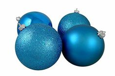 Felices Pascuas Collection 12ct Shatterproof Turquoise Blue 4-Finish Christmas Ball Ornaments 6 inch (150mm)