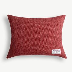 Harris Tweed Luxury Red Herringbone Cushion by memniamcwilliams