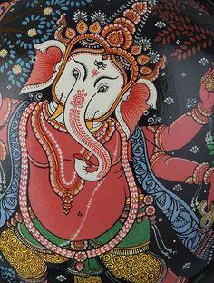 Lord Ganesha Hand-painted Pattachitra Metal Wall Art