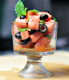 Watermelon, Mint and Olive Salad – Sweet & Salty -Delicious via…