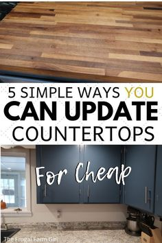 I was tired of our countertops which were painted at least five times. We updated our farmhouse kitchen for less and I'm in love with the look. See how you can update yours too.   #kitchen #remodel #DIY #tips #howto #countertops