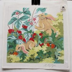 034-Rabbit-in-Strawberries-034-Handpainted-Needlepoint-Canvas-Mary-McKee-14-count