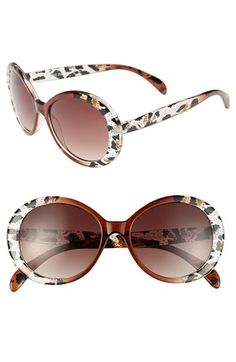 I want! Steve Madden 50mm Animal Print Oval Sunglasses available at #Nordstrom