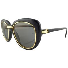 Pre-owned Cartier Conquete Vintage Sunglasses Lunette Nos ($2,250) ❤ liked on Polyvore featuring accessories, eyewear, sunglasses, none, black sunglasses, black glasses, lens glasses, cartier eyewear and vintage black sunglasses