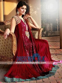 Deep Red Crinkle Chiffon Anarkali SuitBuy Pakistani Dresses Online Buy Pakistani Dresses Online Pakistani clothes Pakistani clothing store Pakistani Fashion Dresses Pakistan online clothing store for order whats app Eid Dresses, Party Dresses Online, Party Wear Dresses, Bridal Dresses, Girls Dresses, Bridal Outfits, Formal Dresses, Formal Wear, Fashion Dresses