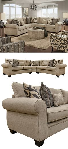 Fun patterned fabrics on the accent pillow provide this spacious sectional with a playful contemporary style. The overall look of the sectional is classic in style with large rolled arms, loose back cushions, and reversible box seat cushions The 1170 Sullivan Cigar 3-Piece Sectional by Fusion Furniture at Great American Home Store in the Memphis, TN, Southaven, MS area. #shopgahs #sectional #livingroom #familyroom