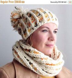 SALE 30% Brioche Super Chunky set scarf and beanie Chunky