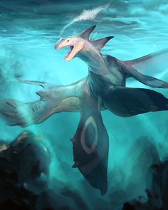 Oceanic Dragon by on can find Magical creatures and more on our website.Oceanic Dragon by on Mythical Creatures Art, Alien Creatures, Underwater Creatures, Ocean Creatures, Mythological Creatures, Magical Creatures, Monsters Rpg, Sea Monsters, Creature Concept Art
