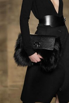 fur and leather clutch michael kors