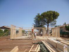 construccin casa con estructura de madera kuusamo log houses en zaragoza obra de ecohouse