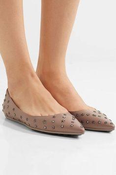 Jimmy Choo - Willis Embellished Leather Point-toe Flats - Mushroom - IT41